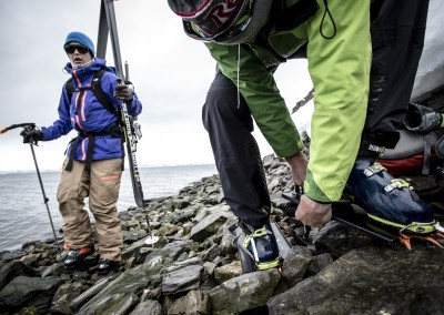 "Chris Davenport and Ingrid Backstrom during the filming of ""Faces of Dav"" in Svalbard, Norway on May 28, 2014. — photo : Christian Pondella"