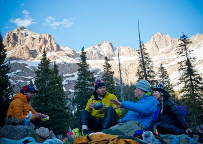 The sun set on the first night in Chicago basin and we enjoyed our last night on solid ground with fireside revery in the Weminuche — photo : Ian Forhman